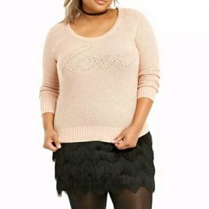 "NWT Torrid Pink ""Love"" Sweater"